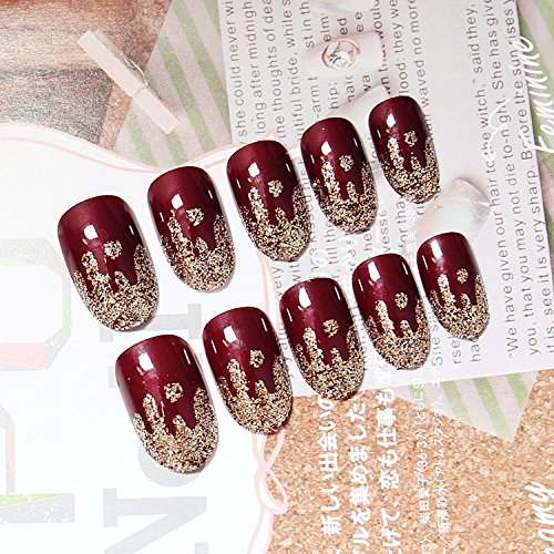 [Ecbasket 24 Pcs Red with Matalic Pre-designed Glue On Full Coverage Short Nails Japanese Style Nail Set with 1 Pcs Glue] (Red Fake Nails)
