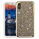 Electronics : Beautiful Safe Individualization For iPhone X Protective Case With Diamond Series Electroplating PC TPU Perfectly match For Iphone X case (Color : Gold)