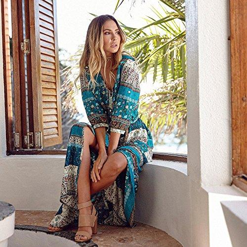 Fleur Imprim Maxi Soire Longue de Longue Robe Floral Robe Femme Col Robe Robe V Covermason de Vert Casual Courtes Plage Chic D't de Manches qBx7ZnwEAz