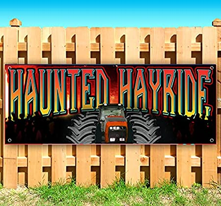 Flag, Haunted Hayride 13 oz Heavy Duty Vinyl Banner Sign with Metal Grommets Many Sizes Available Advertising New Store