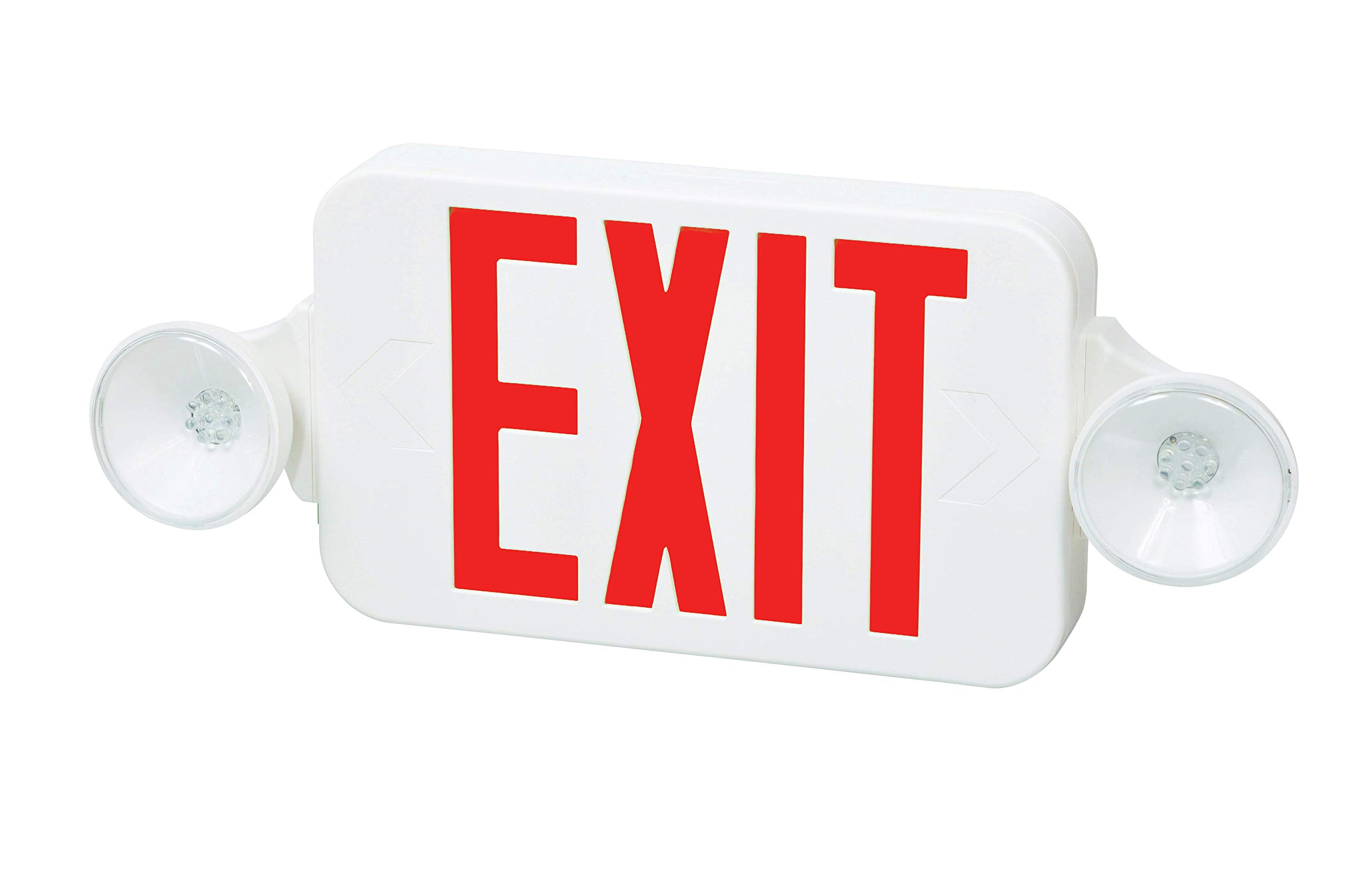 Fulham FHEC30WR Firehorse Emergency Exit Light/Sign Combo- Micro Led, White with Red Lettering by Fulham Lighting (Image #1)
