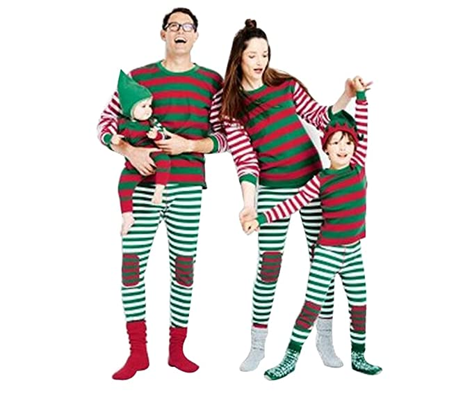 prezzo di fabbrica 761b4 b1ebb LvRao Famiglia Pigiama a Righe Costume di Natale Pajamas Set Xmas Sleepwear  a Strisce