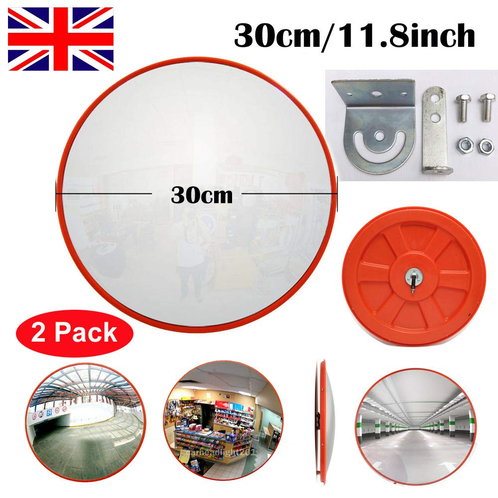 30cm Unbreakable Convex Traffic Mirror 130 Degree Blind Spot Mirror with Adjustable Wall Fixing Bracket Traffic Safe /& Market Anti-theft