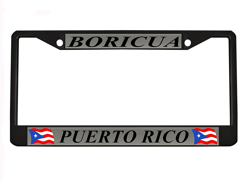 Boricua Puerto Rico Black Metal Auto License Plate Frame Car Tag Holder