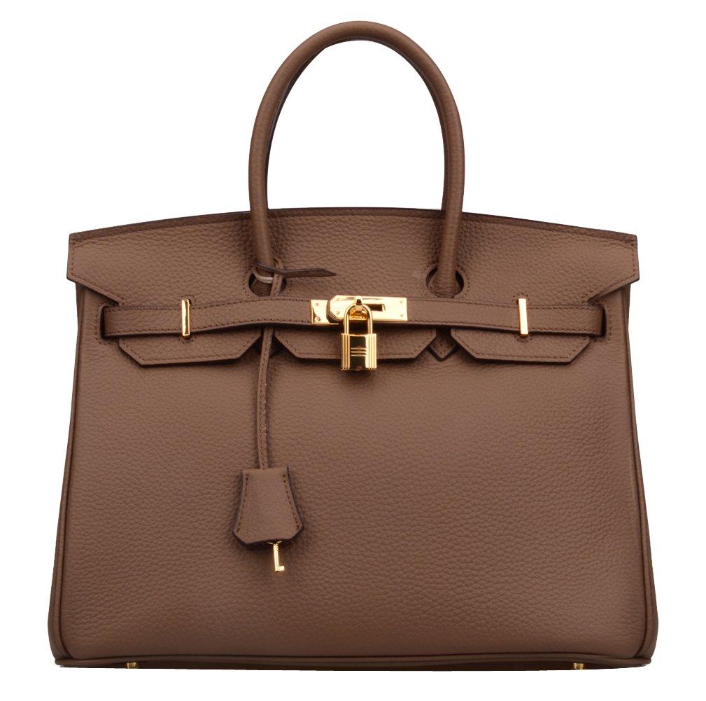 Ainifeel Women's Padlock Handbags with Golden Hardware (35 cm, Khaki)
