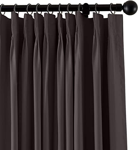 TWOPAGES Pinch Pleated Curtain Fireproof Flame Retardant Thermal Insulated Curtain Drapery. 100″ W x 96″ L