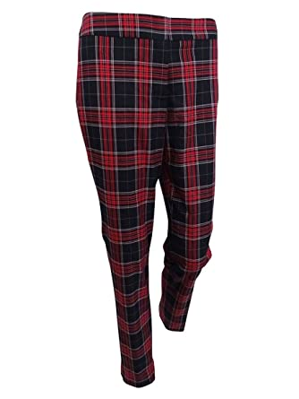 7de3f374d04 Tommy Hilfiger Womens Plaid Slim Straight Leg Pants Red 16 at Amazon  Women s Clothing store