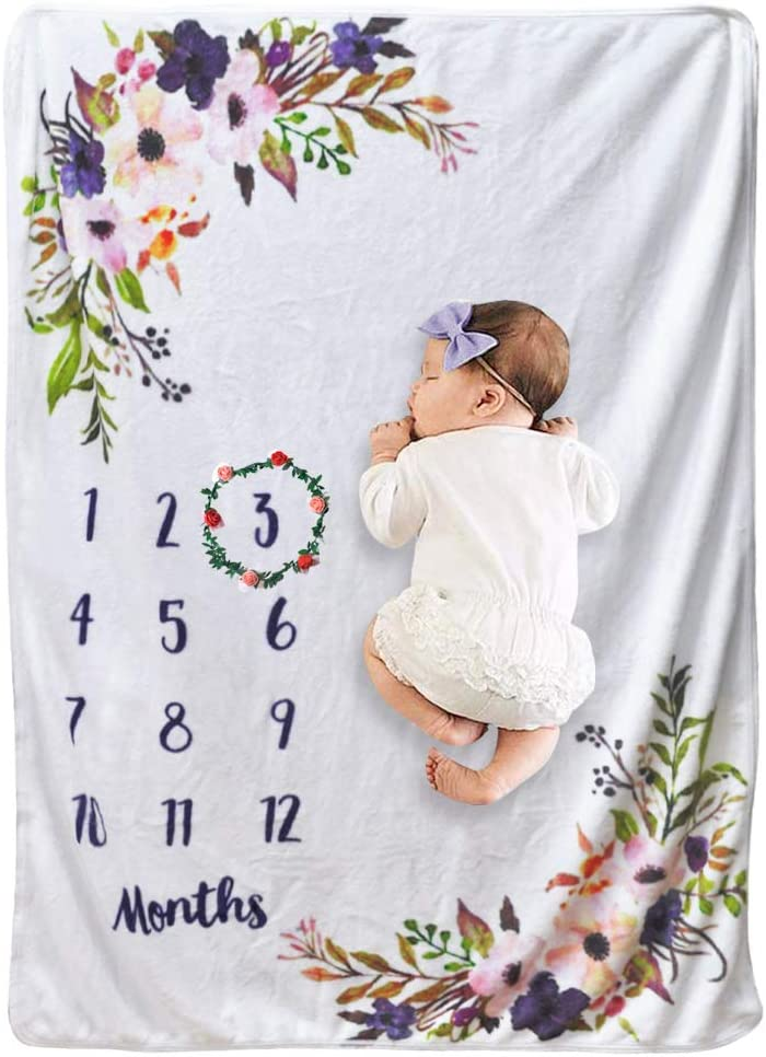 Pink Cckuu Baby Girl Boy Floral Soft Wrap Blanket Milestone Photography Photo Prop Shoots