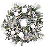 """Valery Madelyn Pre-Lit 24"""" Frozen Winter Silver and White Christmas Wreath with Ball Ornaments, Ribbon and Snowflakes, Battery Operated 20 LED Lights"""