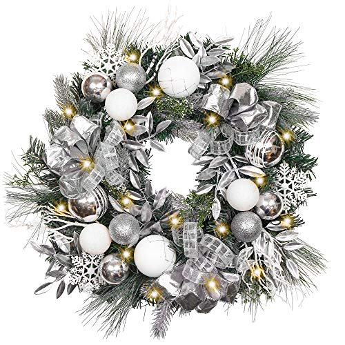 Valery Madelyn Pre-Lit 24 Inch Frozen Winter Silver White Christmas Wreath for Front Door with Shatterproof Ball Ornaments, Snowflakes, Pine Cones, Ribbons and Flowers, Battery Operated 20 LED Lights (Blue Christmas Gold Tree Silver)