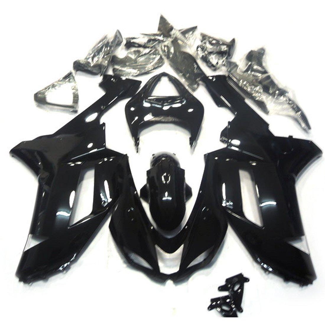 ZXMOTO K0607-BLK Motorcycle Bodywork Fairing Kit for Kawasaki Ninja ZX-6R ZX 600P 2007-2008 Gloss Black - (Pieces/kit: 24)