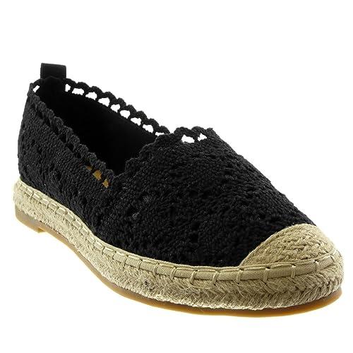 Angkorly - Zapatillas Moda Alpargatas Slip-on Mujer Encaje Bordado Cuerda Tacón Ancho 2 CM - Negro LX172 T 37: Amazon.es: Zapatos y complementos