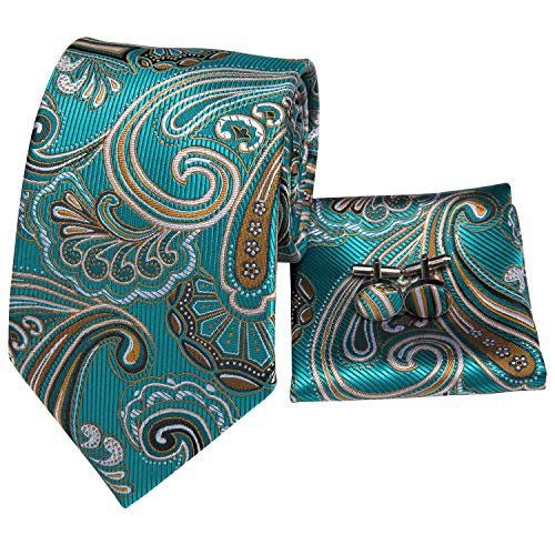 Silk Classic Cufflinks - Hi-Tie Silk Ties for Men Classic Paisley Jacquard Tie Set with Pocket Square Cufflinks Gift Box (Teal paisley floral)