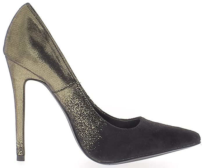 ChaussMoi Shoes Women Black and Gold Heel Needle 12 cm Two-Tone:  Amazon.co.uk: Shoes & Bags