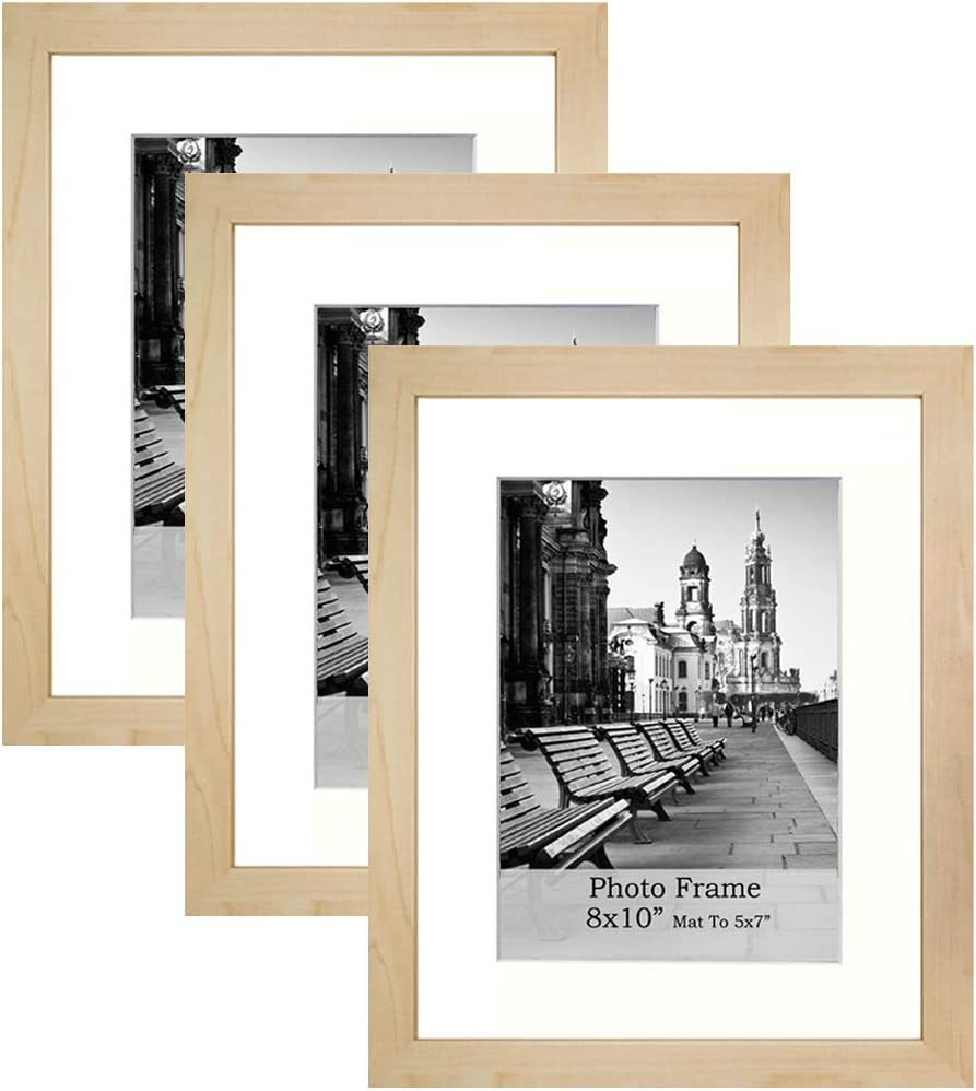 Meetart 8x10inch Shallow wooden-grain color Photo Frames mat to 5x7inch, Pack of 3 Piece, In Plastic Glass, MDF Wood Material Easel for Table Top Stand And Wall hanger Vertical and Horizontal.