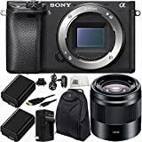 Sony Alpha a6300 Mirrorless Digital Camera with Sony E 50mm f/1.8 OSS Lens (Black) 8PC Kit - Includes 2 Replacement FW50 Batteries + AC/DC Rapid Home & Travel Charger + Micro HDMI Cable + MORE
