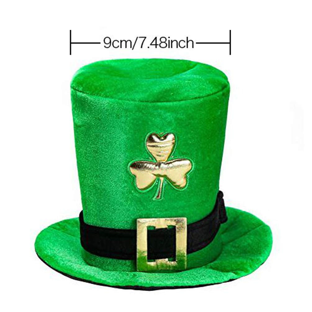 CCINEE St Patricks Day Velvet Green Shamrock Top Hat Green Stovepipe Hat for Party Supply
