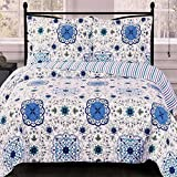 Finely Stitched Coverlet Quilt Set Shams Single Twin/Twin XL Size Extra Long Single Bed Blue Bohemian Style Mandala Medallion Print Pattern Lightweight Reversible Hypoallergenic Wrinkle Free Bedding
