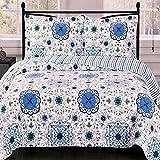 Extra Large King Size Comforter Sets Coverlet Quilt Shams Set King/Cal King Size Oversized (110x96) Blue Mandala Medallion Geometric Print Pattern Bohemian Style Lightweight Reversible Hypoallergenic Bedding