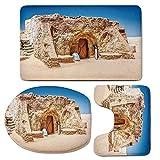 3 Piece Bath Mat Rug Set,Galaxy,Bathroom Non-Slip Floor Mat,One-of-Abandoned-Sets-of-Movie-in-Tunisia-Desert-Phantom-Menace-Galaxy-Wars-Themed,Pedestal Rug + Lid Toilet Cover + Bath Mat,Brown-Blue