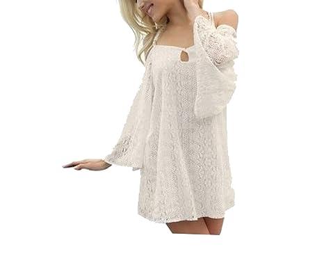 KUWOMINI.Lace Häkeln Strandrock Kleid Bikini Bluse: Amazon.de ...