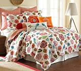 Levtex Home Abigail Quilt Set, Twin, Orange, Blue, Red