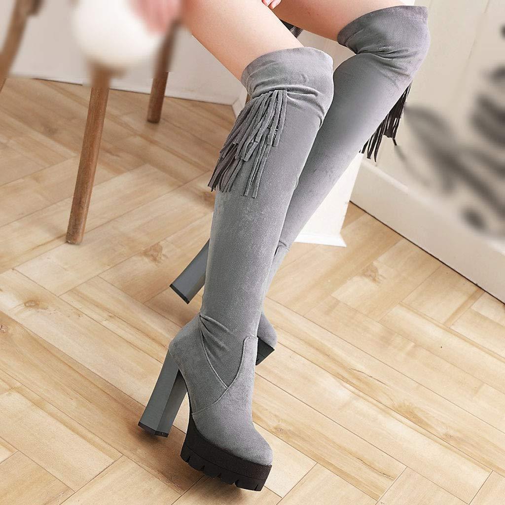 FCXBQ Quaste über Dem Knie Stiefel Wasserdichte Plattform Plattform Plattform High Heels Seitlichem ReißVerschluss Hohe Stiefel Runde Kopf Stretch Oberschenkel Stiefel Bequeme Rutschfeste Damenschuhe 1c6ffc
