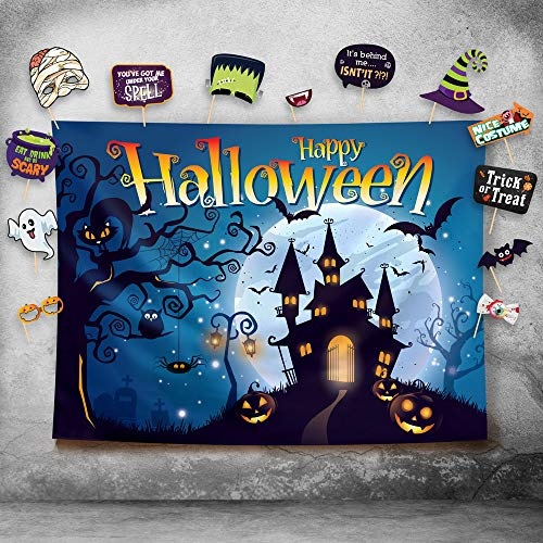 Happy Halloween Photography Backdrop and Studio Props DIY Kit. Great as Photo Booth Background, Costume Dress-up Party Supplies and Event Decorations -