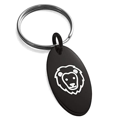 Amazon.com: Black Stainless Steel Lion Icon Small Oval Charm ...
