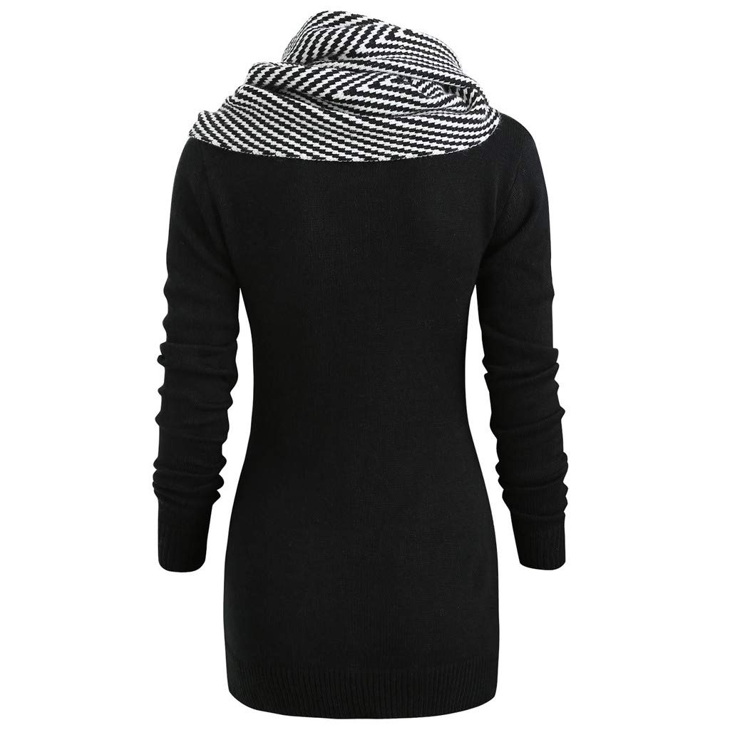 bd9b60cee Amazon.com  Women s Scarf Cowl Neck Sweater Pullovers Slim Fit Long ...