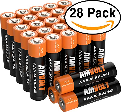 28 Pack AmVolt AAA Batteries Premium LR3 Alkaline Battery 1.5 Volt Non Rechargeable Batteries for Watches Clocks Remotes Games Controllers Toys & Electronic Devices - 2020 Expiry Date