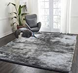 LA Rug Linens Soft Cozy Color Solid Shag Area Rug Contemporary Living and Bedroom Soft Shag Area Rug Grey Gray Silver 5′ X 7′ (Aroma Silver) Review
