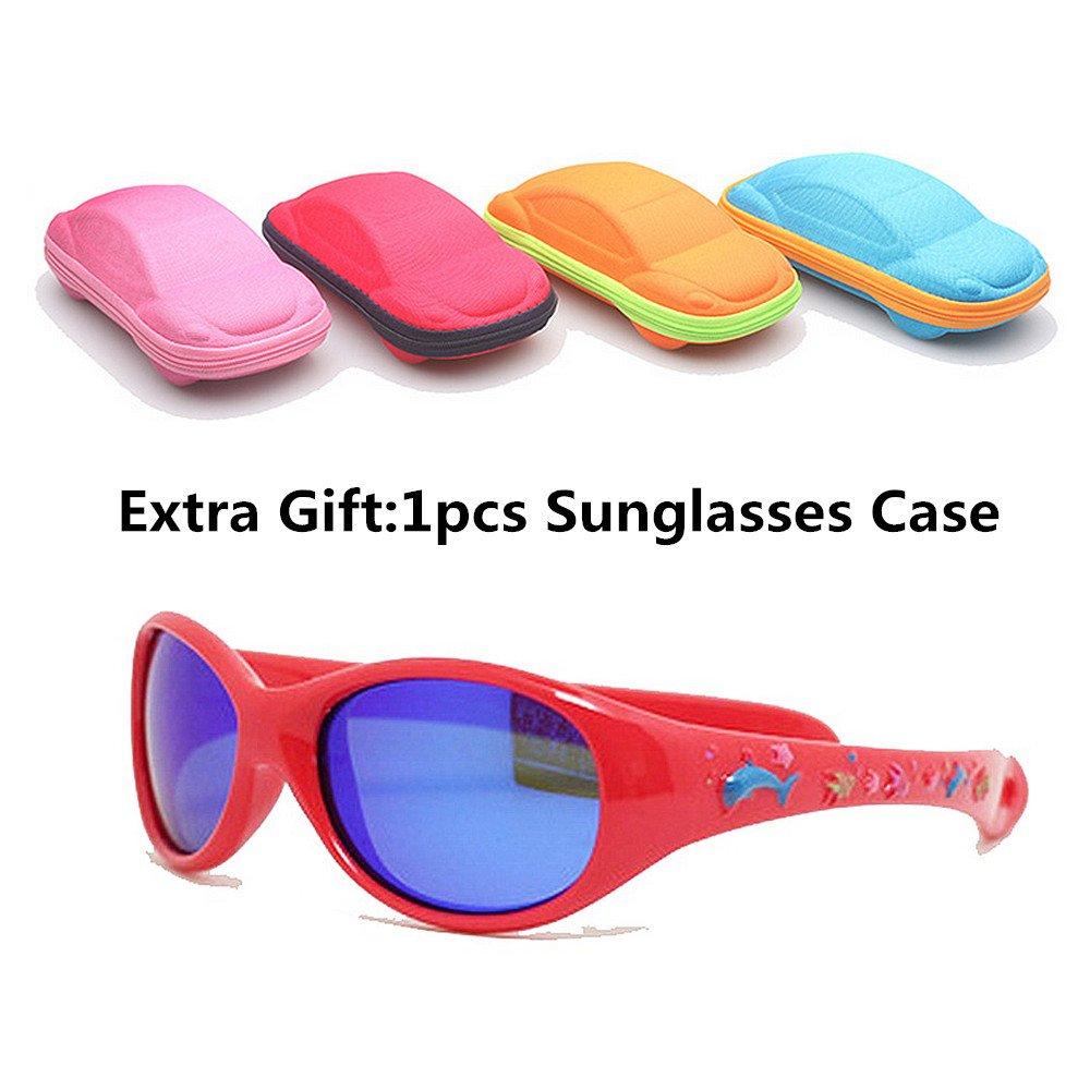 228ef282a8 Lentes de seguridad Impresión de dibujos animados niños y niñas Gafas de sol  deportivas polarizadas con caja de protección UV Niños de 3 a 12 años Gafas  ...
