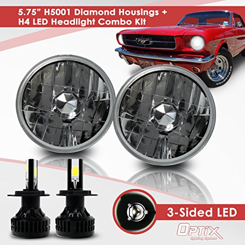 5.75 Inch Round Sealed Beam Headlight Conversion - fits H5001 H5006 - Clear Glass Diamond Cut Housing + H4 LED Kit 6000K Cool White 8000 LM Beam Headlight Conversion Diamond Cut