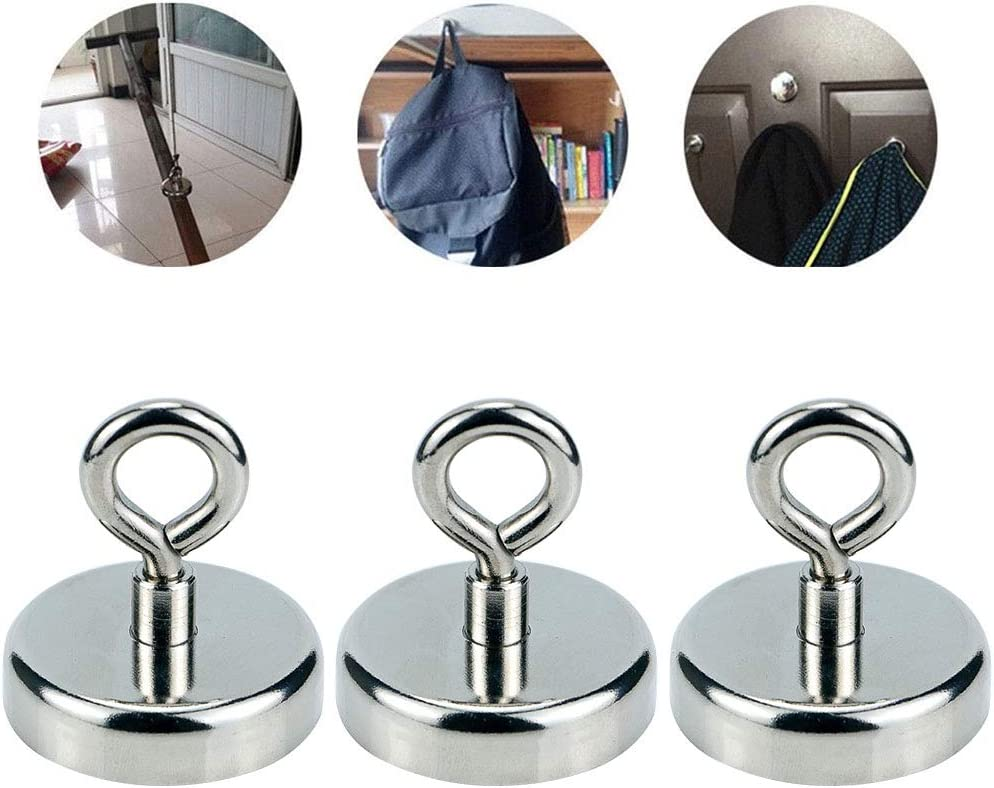 D36 Heavy Duty Powerful Force Magnetic Hooks with Eyebolt for Magnet Fishing /& Metal Detector Treasure Finder Multipurpose Round Neodymium Magnet