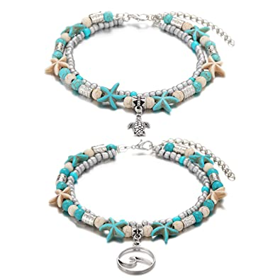 3d3cf5069 Amazon.com: Starain Blue Turtle Anklets for Women Girls Multilayer ...