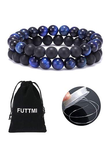 FUTTMI 8mm Tiger Eye Stone Beads Bracelet Elastic Natural Stone Yoga Bracelet for Men Women Couples