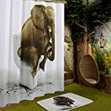 Funny Elephant Shower Curtain, Wimaha Printed Fabric Bath Shower Curtain for Bathroom Mold/Mildew Resistant Water-repellent Non-toxic Waterproof Machine Washable 72 x 72 White