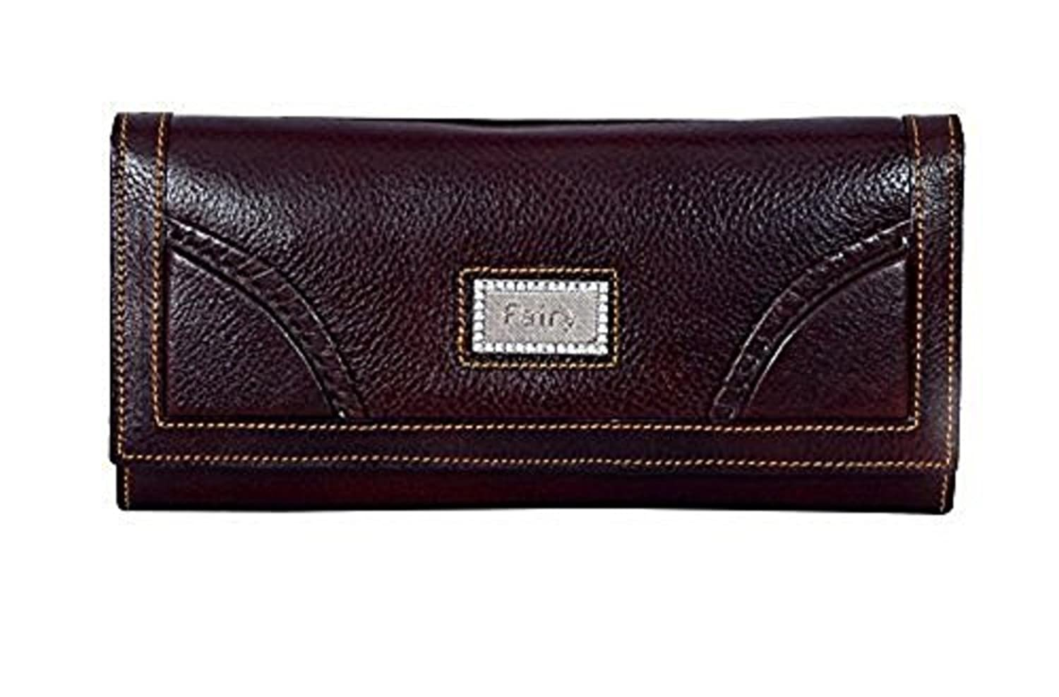 Yark Genuine Leather Ladies Big size Hand Wallet With 7 Cards Slot (8015-Brown)