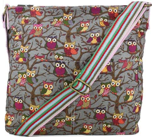Grey Kirsty Owl SWANKYSWANS Slouchy Crossbody Shoulder Print Bag 18748qw0C