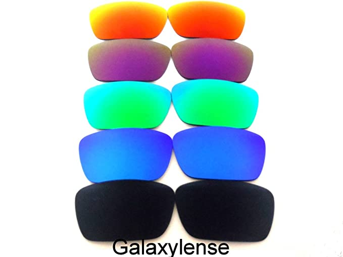 087c9907901 Amazon.com  Galaxy Replacement Lenses for Oakley Fuel Cell  Black Blue Green Purple Red Color Polarized 5 Pairs  Clothing