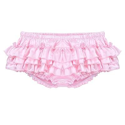 ACSUSS Men's Satin Frilly Thong Sissy Crossdress Bloomer Ruffled Skirted Panties at Amazon Men's Clothing store