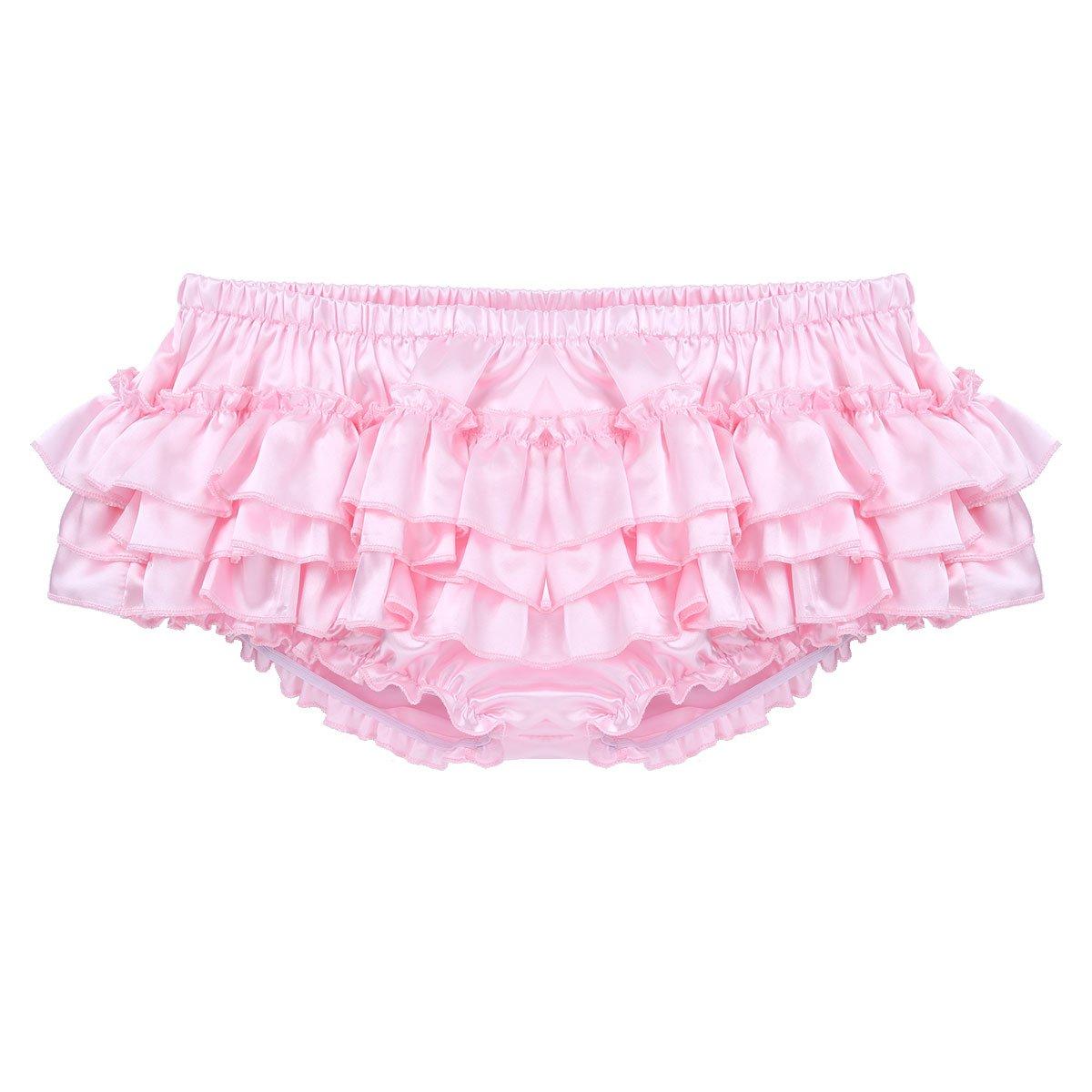 CHICTRY Men's Satin Frilly Thong Sissy Crossdress Bloomer Ruffled Skirted Panties