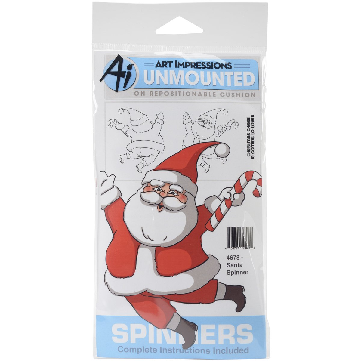 Art Impressions Spinners Cling Rubber Stamp 7x4-Santa