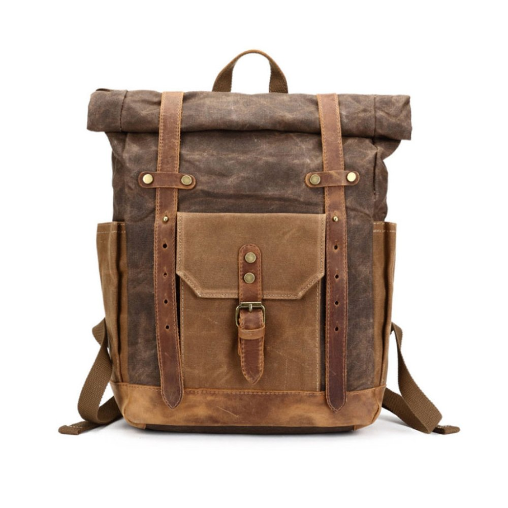 32132e41c64f Male Tote Bag Waterproof Backpack Oil Wax Travel Men s Backpack Retro Crazy  Horseskin Canvas Bag