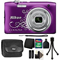 Nikon COOLPIX A10 16.1 MP Digital Camera (Purple) + 8GB Memory Card + Wallet + Reader + Camera Case + 3pc Cleaning Kit + Mini Tripod