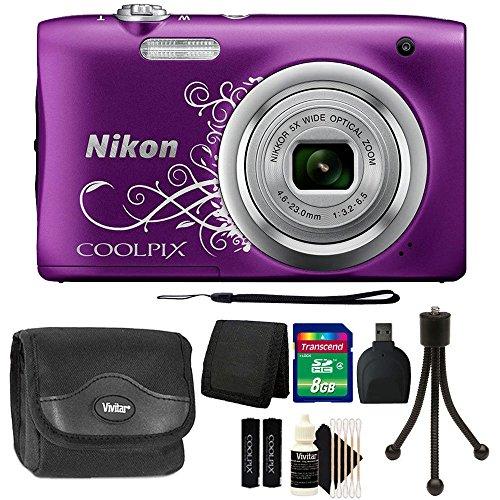 Nikon COOLPIX A10 16.1MP Compact Digital Camera (Purple) with 8GB Accessory Kit