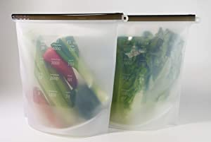 2-pack Gallon Silicone Reusable Food Storage Bag With Sealer Stick - Extra Large Size