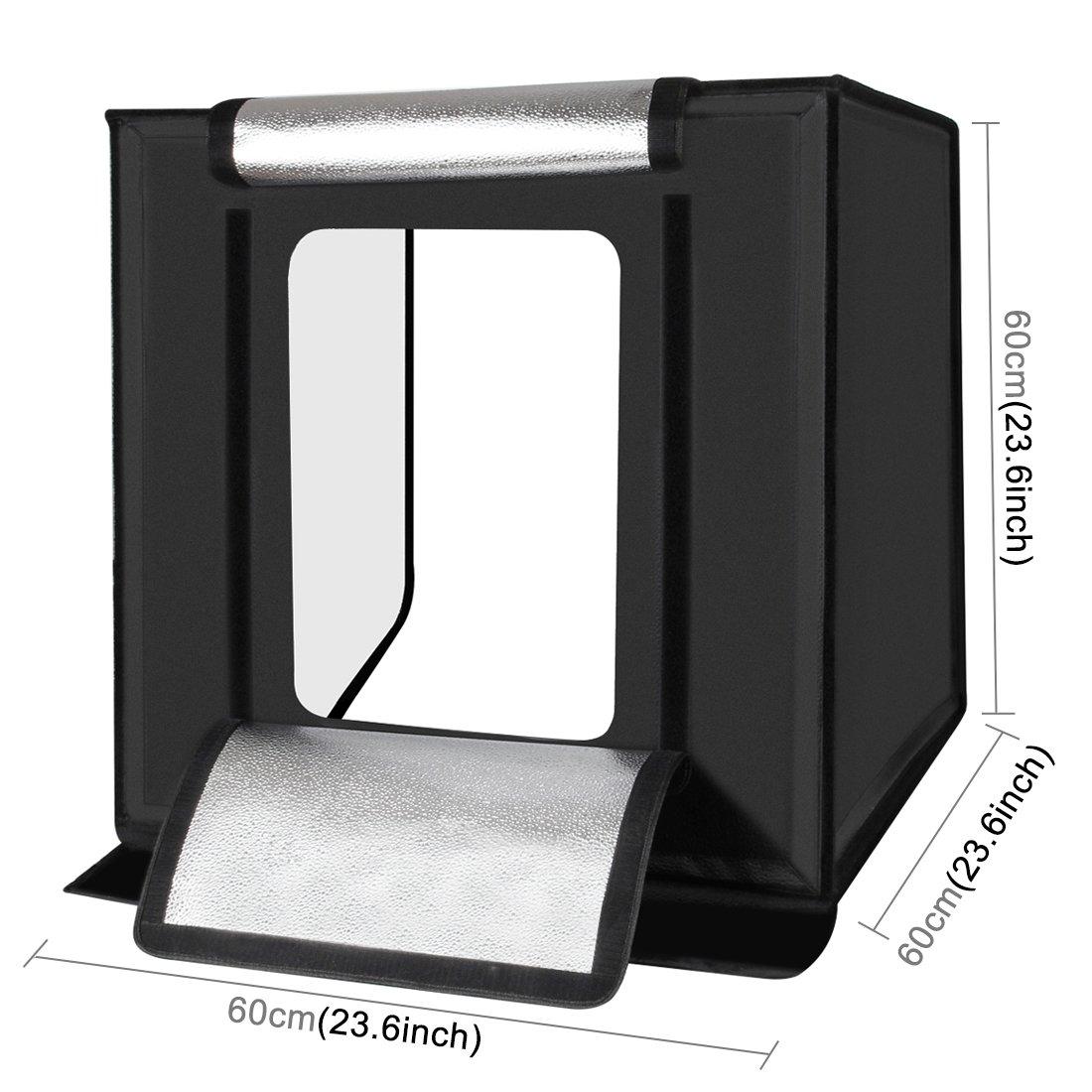 PULUZ Studio Photo Bo/îte de Lumi/ère Pliable 80 x 80 x 80 cm LED 5500K Mini Photo Tente de Studio Portable avec 3 Fonds Blanc Noir Orange 60W Lumen 8500LM Prise EU