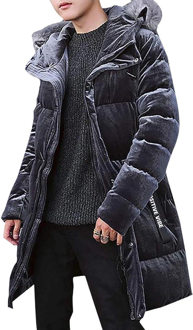 XQS Men Fashion Faux Fur Hooded Cotton Padded Parka Outerwear Coats